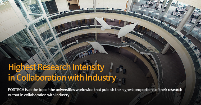 Highest Research Intensity in Collaboration with Industry-POSTECH is at the top of the universities worldwide that publish the highest proportions of their research output in collaboration with industry.