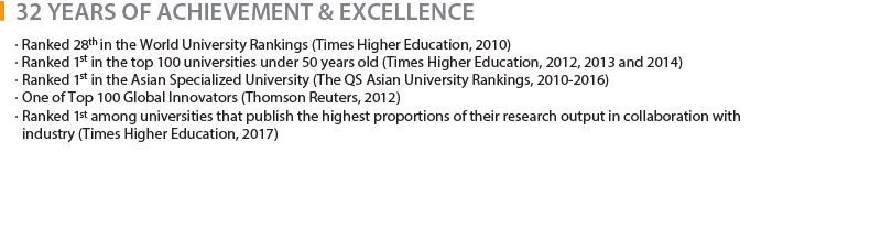 31 YEARS OF ACHIEVEMENT & EXCELLENCE - · Ranked 28th in the World University Rankings (Times Higher Education, 2010), · Ranked 1st in the top 100 universities under 50 years old (Times Higher Education, 2012, 2013 and 2014), · Ranked 1st in the Asian Specialized University (The QS Asian University Rankings, 2010-2016), · One of Top 100 Global Innovators (Thomson Reuters, 2012), · Ranked 1st among universities that publish the highest proportions of their research output in collaboration with industry (Times Higher Education, 2017)