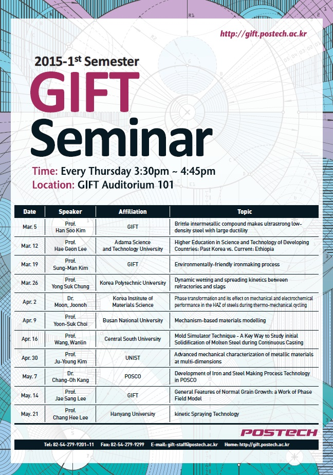 We would like to inform you of the GIFT Weekly seminar schedule for the 2015  Spring Semester. Your interest and willingness to participate would be very welcomed and appreciated