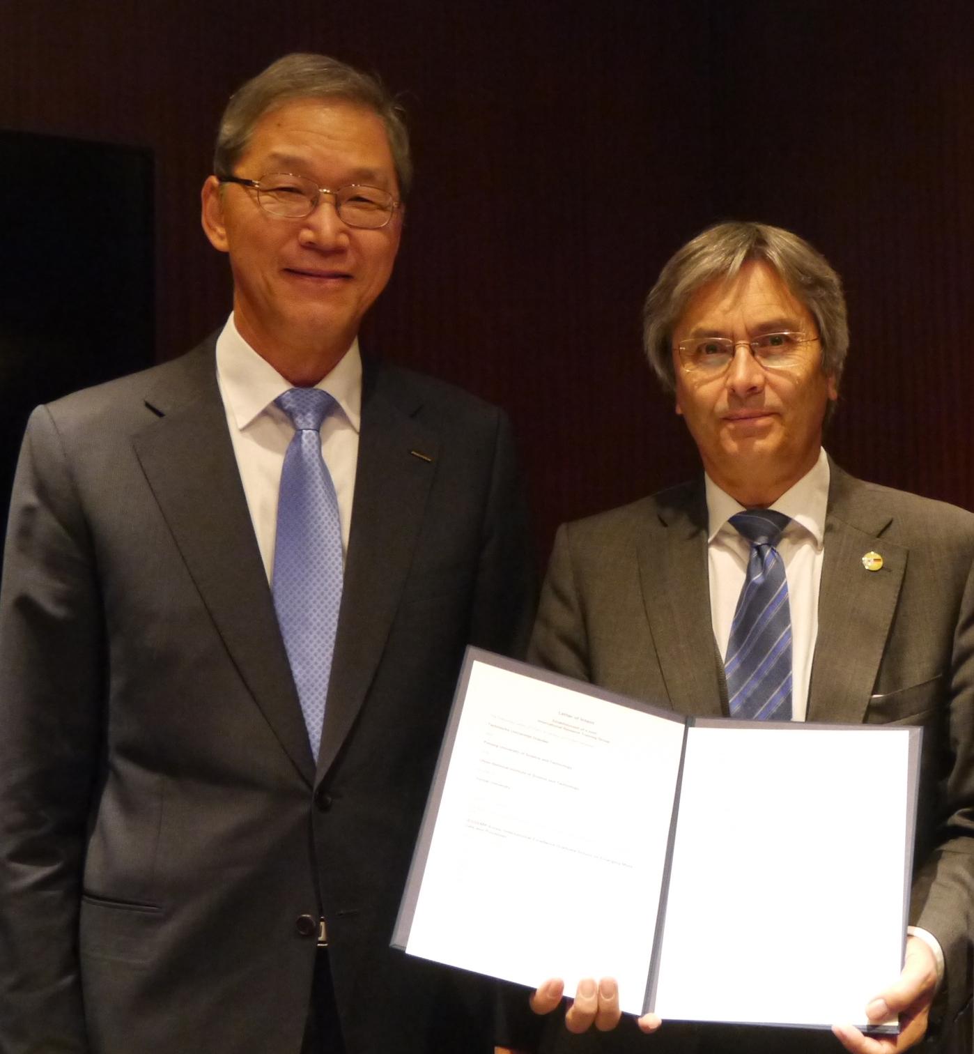 김도연 POSTECH 총장, 한스 뮐러 슈타인하겐 드레스덴공대 총장, 정무영 UNIST 총장 (왼쪽부터)