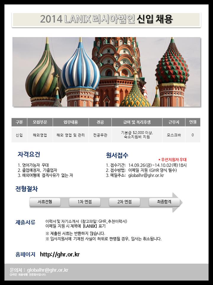 2014 LANIX 러시아법인 신입 채용