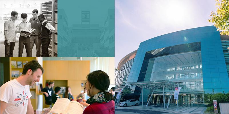 도서관에서 책을 보고 있는 학생들의 이미지, 외국인 학생이 학교에 관한 설명을 듣고 있는 이미지, 포스텍 국제회의장 건물 이미지
