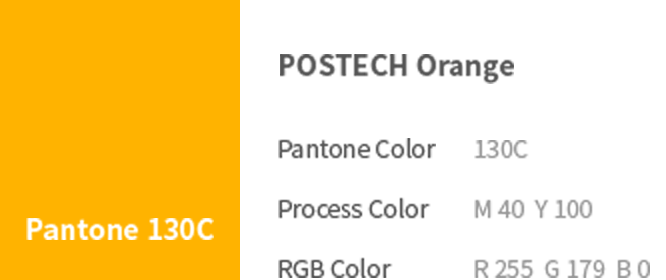 Pantone 130C - POSTECH Orange (Pantone Color: 130C, Process Color: M 40  Y 100, RGB Color: R 255  G 179  B 0)