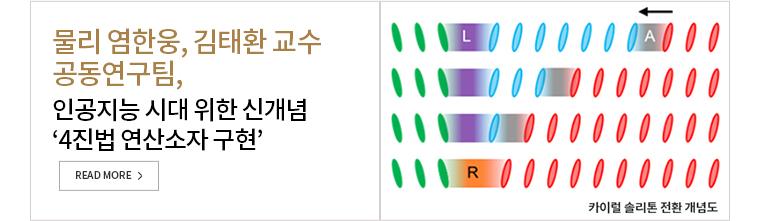 물리 염한웅, 김태환 교수 공동연구팀, 인공지능 시대 위한 신개념 4진법 연산소자 구현