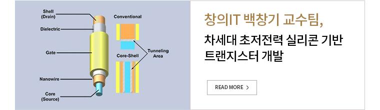 창의 IT백항기 교수팅, 차세대 초저전력 실리콘 기반 트랜지스터 개발