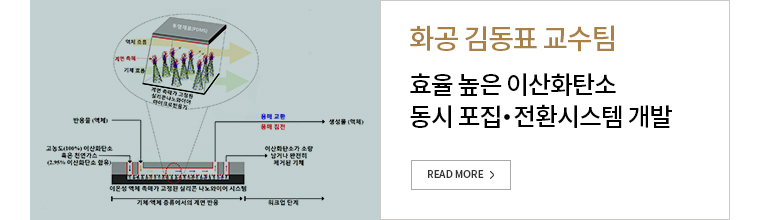 화공 김동표 교수팀 - 효율 높은 이산화탄소 동시포집, 전화시스템 개발