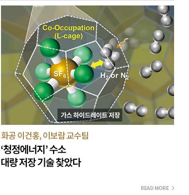 화공 이건홍,이보람 교수팀 청정에너지 수소 대량 저장 기술 찾았다 - READ MORE