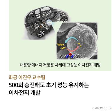 500회 충전해도 초기 성능 유지하는 이차전지 개발 화공 이진우 교수팀 - READ MORE