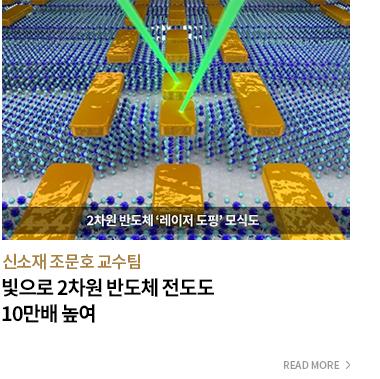신소재 조문호 교수팀 빛으로 2차원 반도체 전도도 10만배 높여 - READ MORE