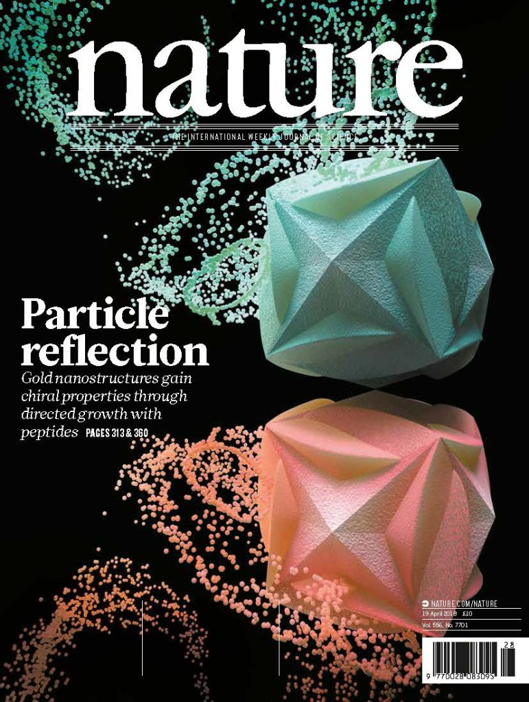 nature - Particle reflection - Gold nanostructures gain chiral properies through directed growth with peprides pages 313&360