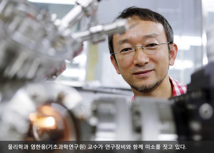 물리학과 염한웅(기초과학연구원) 교수가 연구장비와 함께 미소를 짓고 있다.